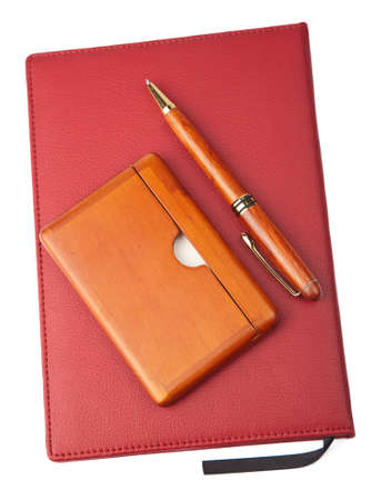 red book: organizer and pen isolated