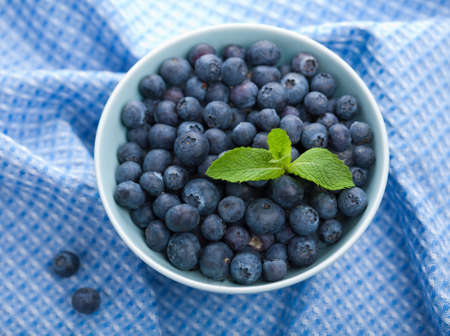 wild mint: fresh blueberry in bowl  Stock Photo
