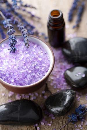 herbal salt lavender and spa stones photo