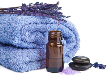 towel and lavender isolated  photo
