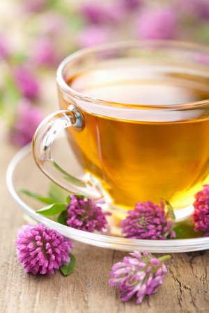 herbal medicine: herbal tea and clover flowers  Stock Photo