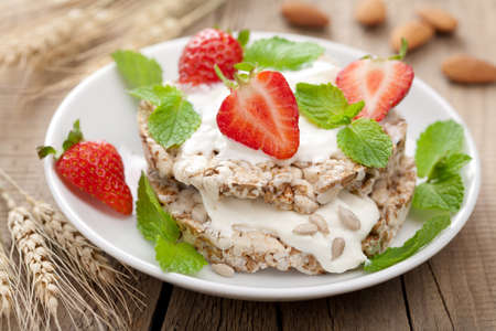 crisp bread with cottage cheese and berries  photo