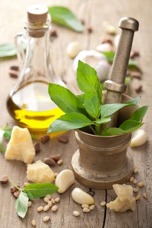 basilico: ingredientes para la salsa pesto