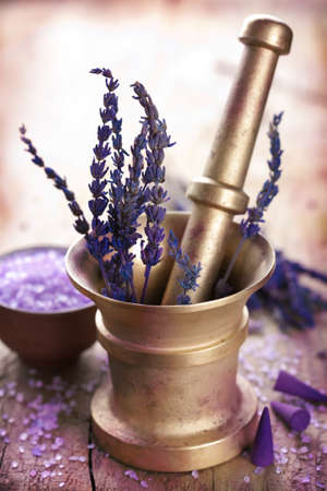 mortar with lavender  photo