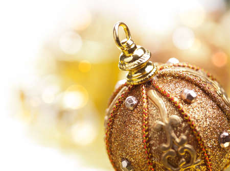 golden christmas ball photo