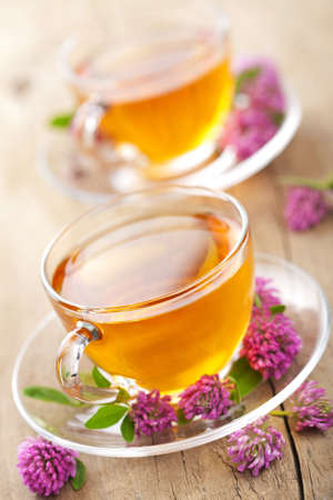 teacup: herbal tea and clover flowers  Stock Photo