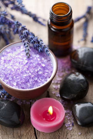 herbal salt lavender and spa stones  photo