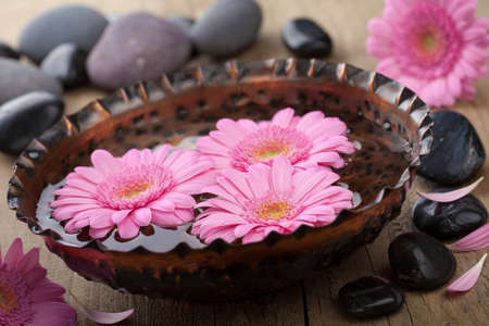 stone bowl: flowers in bowl for aromatherapy