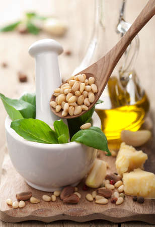 ingredients for pesto sauce  photo