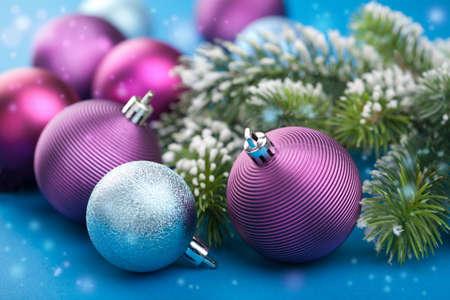 colorful christmas balls  Banque d'images