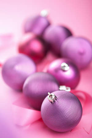 purple christmas balls photo