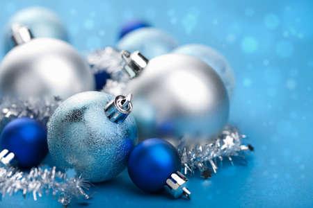 blue christmas balls  写真素材