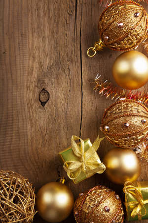 christmas background with golden decoration  photo