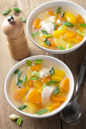 potato soup: chicken soup with vegetables