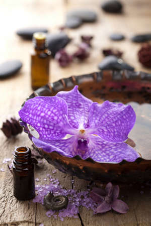 spa with orchid flower photo