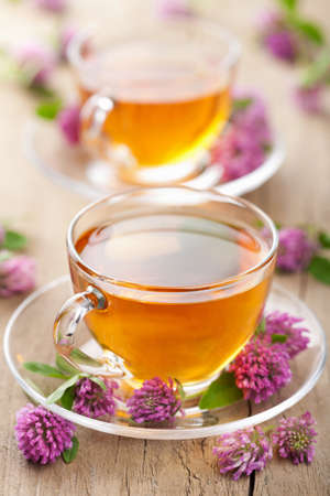 herbal tea and clover flowers  photo