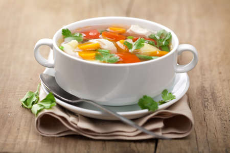 soup bowl: chicken soup with vegetables  Stock Photo