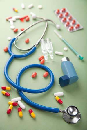 stethoscope and pills photo