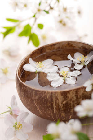 white flowers in bowl for spa photo