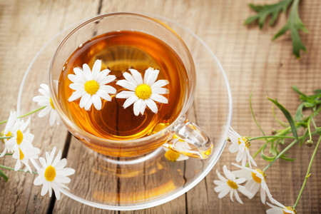 cup of herbal tea with chamomile flowers  photo