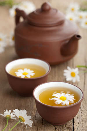 chinese tea pot: green tea with chamomile flowers