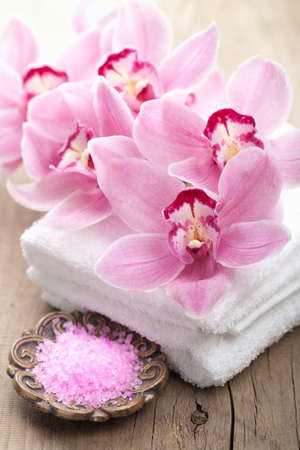 spa and bath with orchids photo