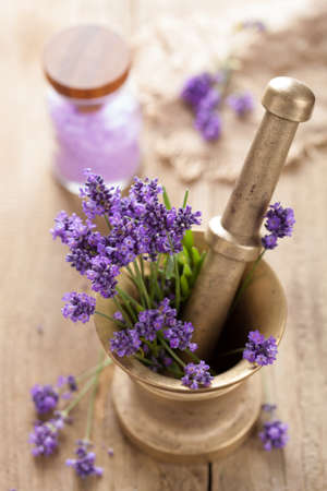 mortar with fresh lavender  photo