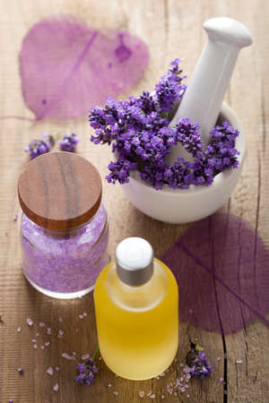 spa set with fresh lavender  Stock Photo - 14974163