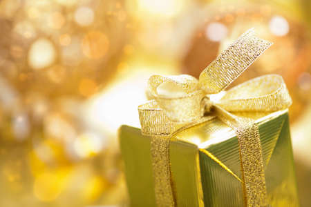 golden christmas gifts and decoration  photo