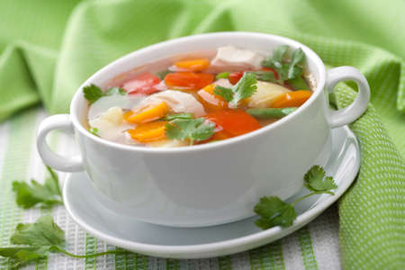 chicken meat: chicken soup with vegetables  Stock Photo