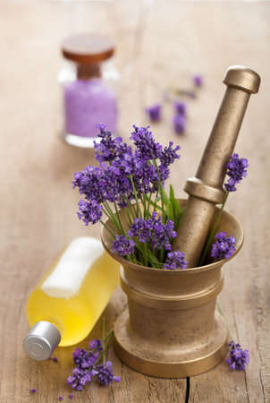 lavender flowers: spa set with fresh lavender  Stock Photo