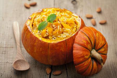 calabazas de halloween: risotto de calabaza Foto de archivo
