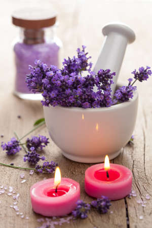 spa set with lavender flowers photo