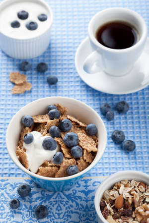 cornflakes with blueberry and yogurt Stock Photo - 15473047