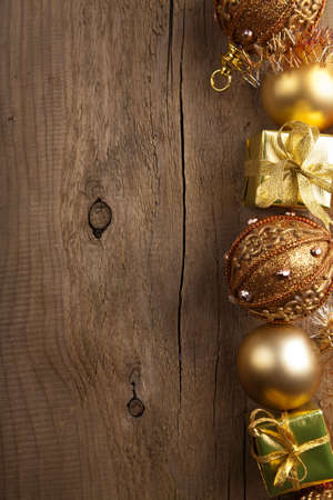 modern christmas baubles: christmas background with golden decoration  Stock Photo