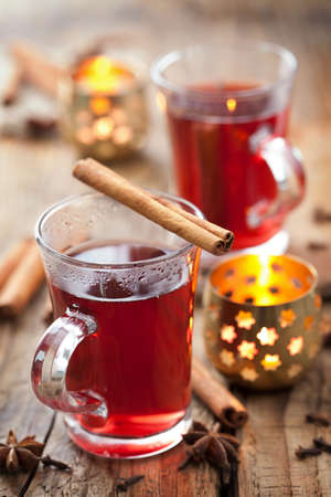 spiced: glass of mulled wine Stock Photo