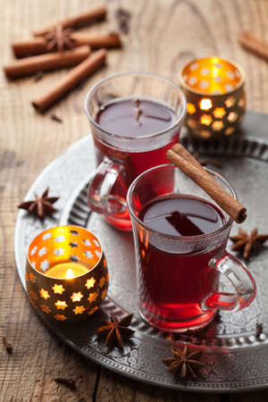 christmas tea: glass of mulled wine