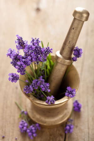 mortar with lavender flowers photo