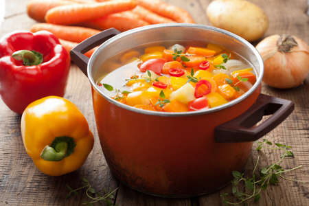 hot soup: vegetable soup in pot