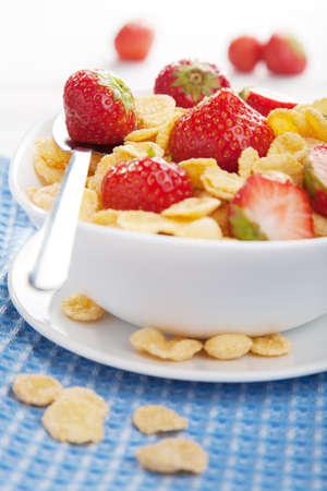 cornflakes with strawberry Stock Photo - 17215839