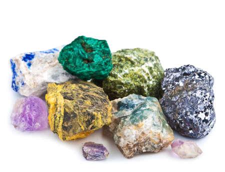 ásványgyűjteménye elszigetelt Stock fotó