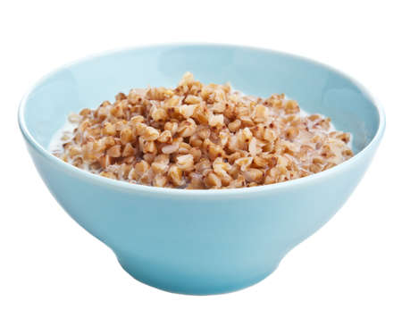 buckwheat groats with milk isolated photo