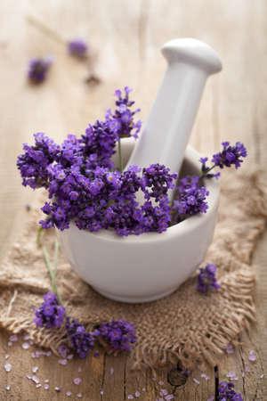 fresh lavender in mortar  photo
