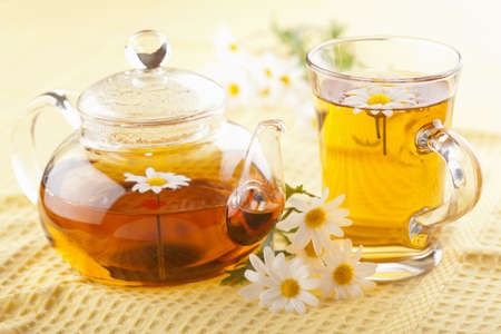 herbal tea with camomile flowers  Stock Photo