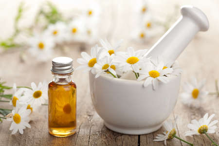 aromatherapy: essential oil and camomile flowers in mortar