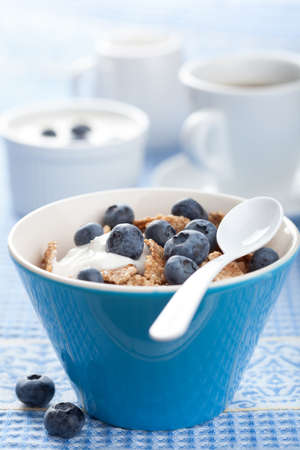 cornflakes with blueberry and yogurt Stock Photo - 18115546