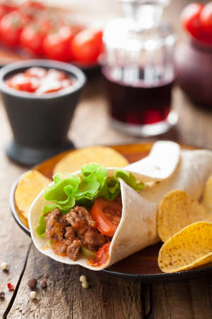 fajita: tortilla wraps with meat and vegetables  Stock Photo