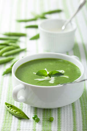 lunch meal: pea soup with mint