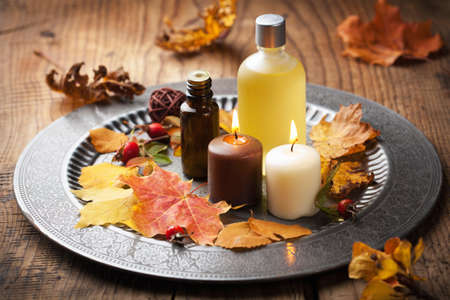 herfst spa-en aromatherapie Stockfoto