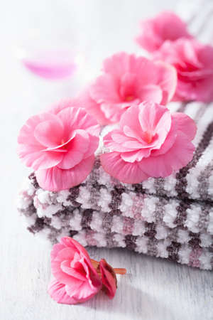 begonia: pink flowers and towel for spa Stock Photo